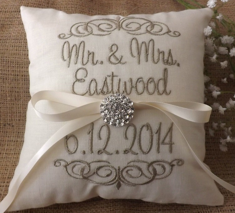 Monogram Wedding Ring Bearer Pillow: Ring Bearer Pillow Mr & Mrs. Ring Pillow By ElegantThreadsEtc