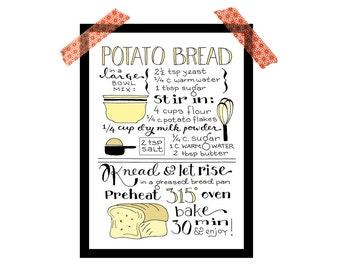 Bread recipe print, kitchen print, 5x7 digital illustrated art print, hand lettered