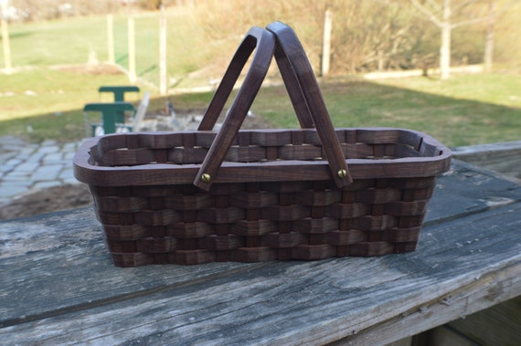 Knitting Basket With Handles : Knitting supplies tote basket handles walnut wood by