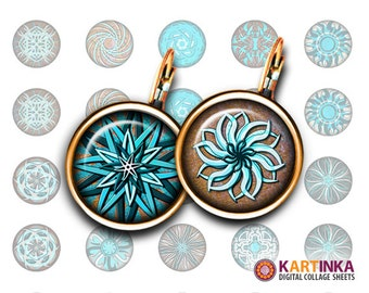MINT SPIRALS - 13mm & 15mm size images Digital Collage Sheet Printable Download for earrings, rings, cuff links, pendants, bracelets