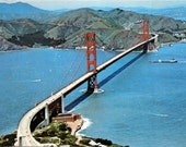 Vintage unused color postcard of the Golden Gate Bridge, the Presidio,hills of Marin County 1960's excellent condition