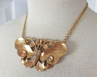 Vintage 80s Alva Necklace for Smithsonian Institute Gold Plated Butterfly Symbol of Rebirth and Immortality