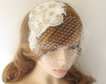 Bridal Headband /  Flower Headband  /  Feather Headpiece / The Whitney Headband w/ Veil
