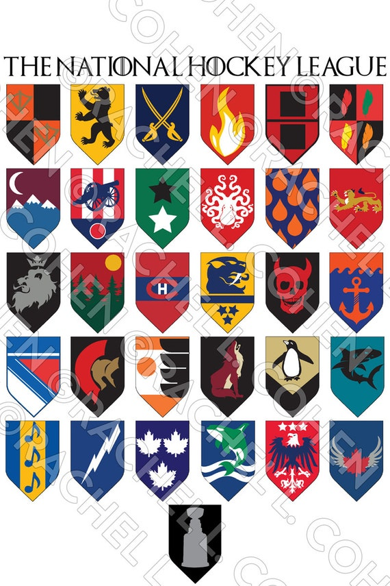 NHL Hockey Game of Thrones Inspired Medieval Fantasy Sigil Poster SMALL 12x18
