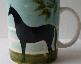 Primitive Folkart Horse Coffee Mug Cup  We Ship Internationally