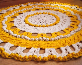 "Any Color Wool 62"" Crochet Large Rug, Rug Round Crochet, Made To Order"