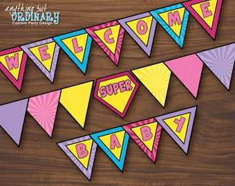 Girls Superhero Banner, DIY Welcome Baby, INSTANT DOWNLOAD, printable digital file