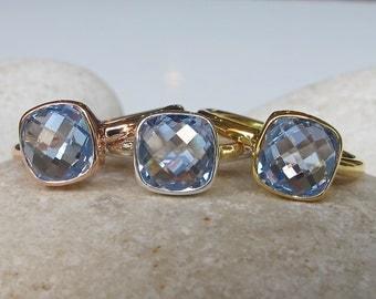 Square Blue Topaz Ring- Topaz Ring- Blue Topaz Ring- Blue Quartz Ring- Silver Ring- Stone Ring- Gemstone Ring- Blue Ring- Blue Stone Ring