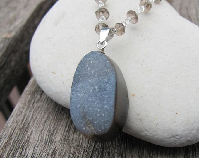 Quartz Silver Necklace- Smoky Quartz Silver Necklaces- Gray Druzy Agate Necklaces- Statement Necklaces- Druzy Necklaces- Gifts for Her-