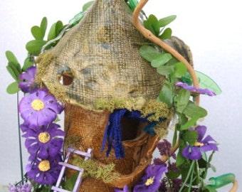 Enchanting ...Clay Tower Fairy House....Lites......OOAK