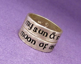 My Sun & Stars and Moon Of My Life - Set of 2 SOLID Sterling Silver Rings - Wedding Bands, His and Hers Rings