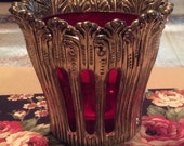 Vintage Heavy, Intricate Scalloped Silver Plated Candle/Votive Candle Holder, Ruby Color Inlaid Cup