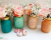 Peach and Mint Decorations Painted Mason Jars Wedding Home Decor Vase Centerpiece