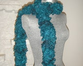 Hand Knitted, Ruffle Scarf, Frilly, Romantic, Sashay Sequin Scarf on Sale!