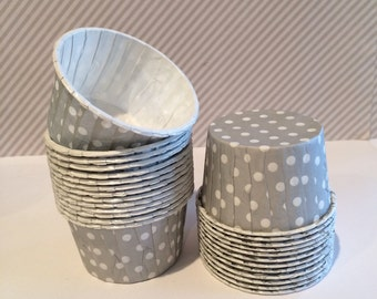 Silver Gray Polka Dot Candy Cups Baking cupcake grease proof  Icecream dessert nut cup Grey portion cup condiment cup standard size 24 count