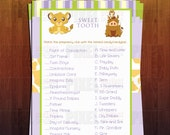 Lion King Themed Baby Shower Sweet Tooth Game- Instant Download