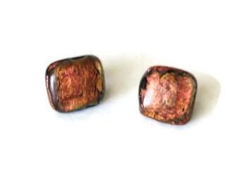 Fused glass earrings - fiery copper dichroic glass