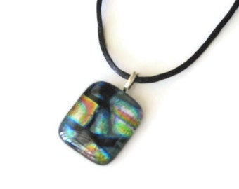 Dichroic glass pendant - multicolored collage necklace