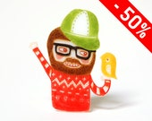 PETE - shrink plastic brooch, bearded man with bird