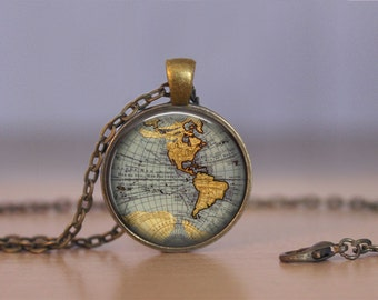 World map keychain etsy world map necklace or keychain jewelry 25mm choose finish length bronze sciox Images