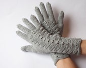 MADE TO ORDER!!! Hand Knitted Gloves, Gray Elegant Arm Warmers Gloves With Fingers, For Her, Gift Ideas, Winter Accessories