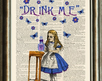 Alice in Wonderland  DRINK ME vintage book page print on a page from a late 1800s Dictionary