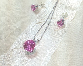 Pink Sapphire Necklace Earrings Set