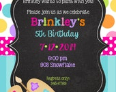 Art  Painting  Birthday Party Invitations, Art party printable or digital file