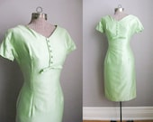 1950s Wiggle Dress Vintage Celery Green 50s Dress Short Sleeves Cotton Sateen / XS