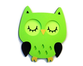 Owl Card -  Lime Green Owl - Owl Shaped Card - Kids Cards - Birthday Card - Owl Birthday Card