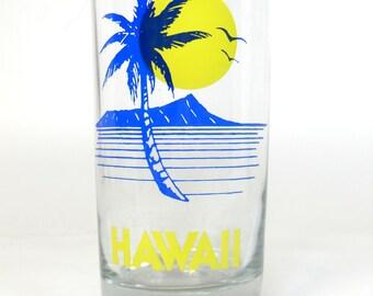 Vintage Travel Hawaii Souvenir Glass Retro, Tall Tumbler Vintage Glass, Hawaii Glass, Retro Glassware, Vintage Souvenir,