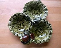 Vintage Crown Devon Three Leaf Cabbage Dish Mid Century