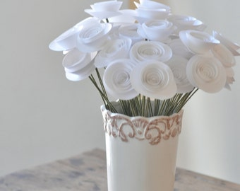 White Paper Flowers on Stems- Bouquet of Paper Flowers-  White paper roses- Set of 30