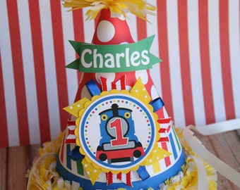 Train Thomas & Friends Inspired Birthday Party Hat, Choo Choo Train Hat, First Birthday Train Party Hat