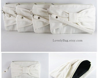 SUPER SALE - Set of 6 Ivory Bow Clutches - Bridal Clutch, Bridesmaid Wristlet, Wedding Gift, Cosmetic Bag, Zipper Pouch - Made To Order