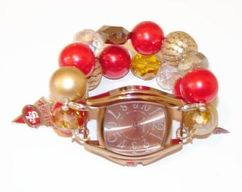 SF 49er Chunky Beaded Watch-San Francisco 49er Watch-BeadsnTime-Unique Gift-Interchangeable Watch-Red and Gold Watch-Stocking Stuffer