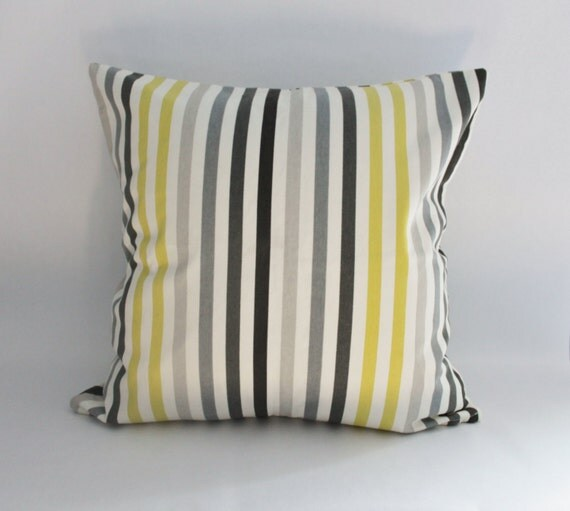Stripe Pillow Cover:  Lime Green or Chartreuse, Light Grey, and Charcoal Gray Pillow Cover, Modern Print--18 x 18 inch--READY TO SHIP