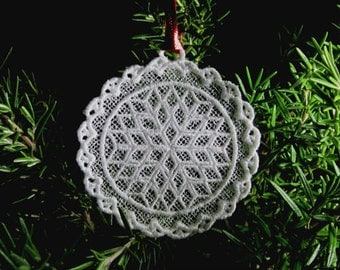 FSL-Free standing lace embroidery Snowflake ornament design digital file