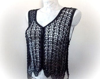 Black Crochet Vest-Black Beaded Crochet Vest -Boho Goth Gypsy Sheer Black Fishnet Sleeveless Top See Through Hippie Bohemian Vest