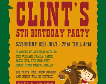 Cowboy themed kids birthday party invite