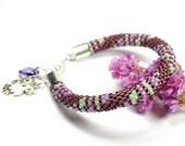 Bead Crochet Bracelet. Rope Bracelet. Purple Bracelet. Beaded Bracelet. Geometric Pattern.Toho Seed Beads Bracelet.