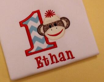 Sock Monkey Birthday T-Shirt or Bodysuit