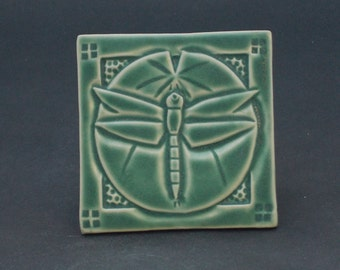 Arts and Crafts Mission Style Dragonfly and Lily Pad Hand Made Tile, Green Matte