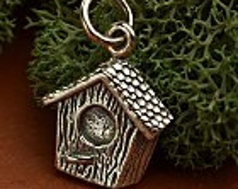Sterling Silver Birdhouse Charm, Birdhouse Charm, Silver Bird Charm, Sterling Silver Bird Charm, Silver Bird Charm,Silver Bird Pendant