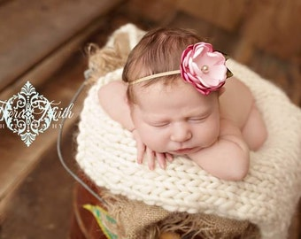 The Reese Headband -- Dainty Pink Flower Headband, Photo Prop, Baby Gift