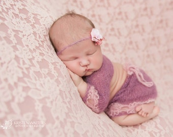 Knitted Mohair Sleeves, Skirt and Tieback- photo props newborn - Mauve and Pink