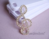 1pcs Full crystal Golden music symbol Flatback Alloy jewelry Accessories materials supplies