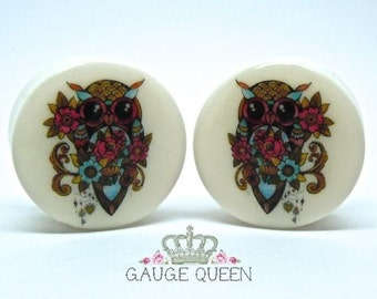 "Tattoo Plugs/Gauges. 'Pippin' The Owl. 2g /6.5mm, 0g /8mm, 00g /10mm, 1/2"" /12.5mm, 9/16"" /14mm, 5/8"" /16mm, 3/4"" /19mm, 7/8"" /22mm,1"" /25mm"