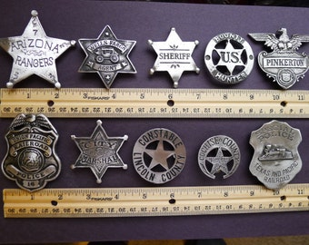 10 BADGES OLD WEST Assorted Styles Lawman