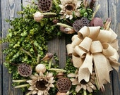 Wreath -  30 inch Dried Flower Wreath  -  Eucalyptus Wreath